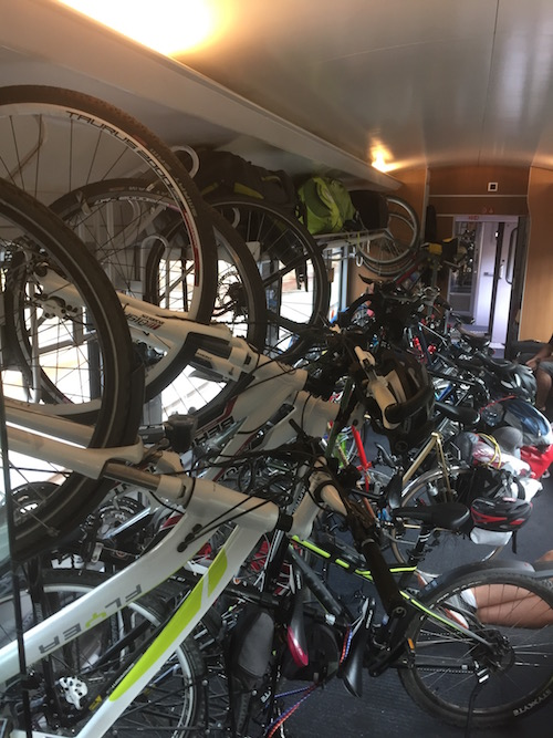 Bikes on the train: Amsterdam to Berlin (we took from Amersfoort to Osnabrück).