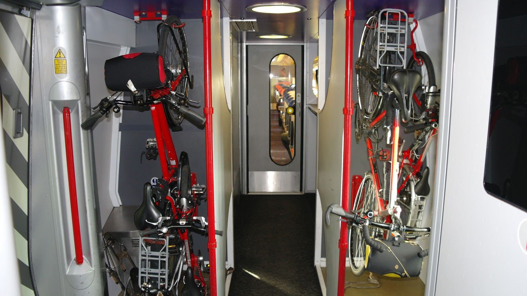 Bikes tidied away on a Virgin Crosscountry train