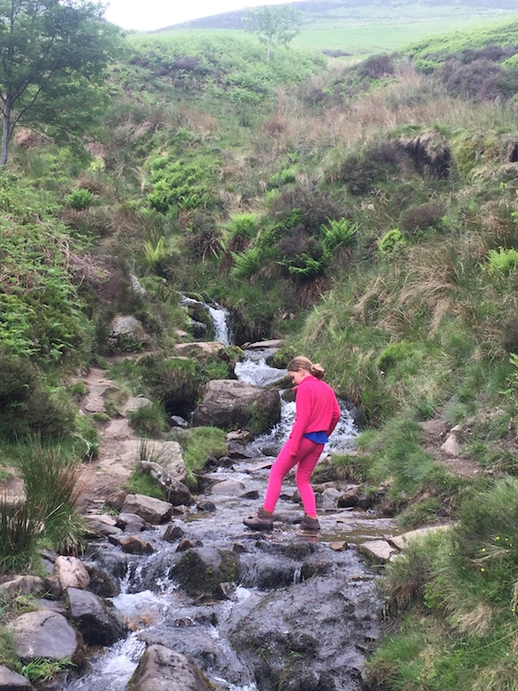 Walking up Grindsbrook Clough, Edale