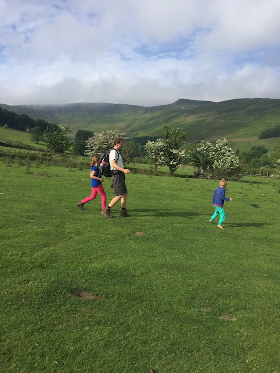 Lovely views while no-car family camping in Edale