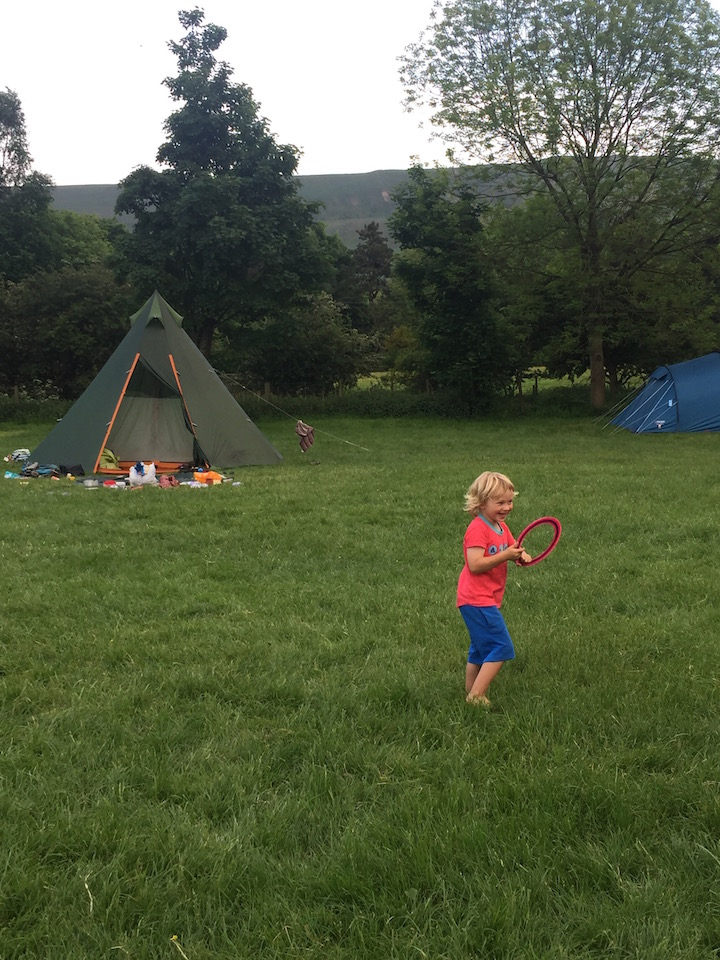 Playing frisbee at Cooper's campsite, Edale