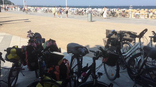 Quick beach stop before taking our bikes to the Travemünde ferry