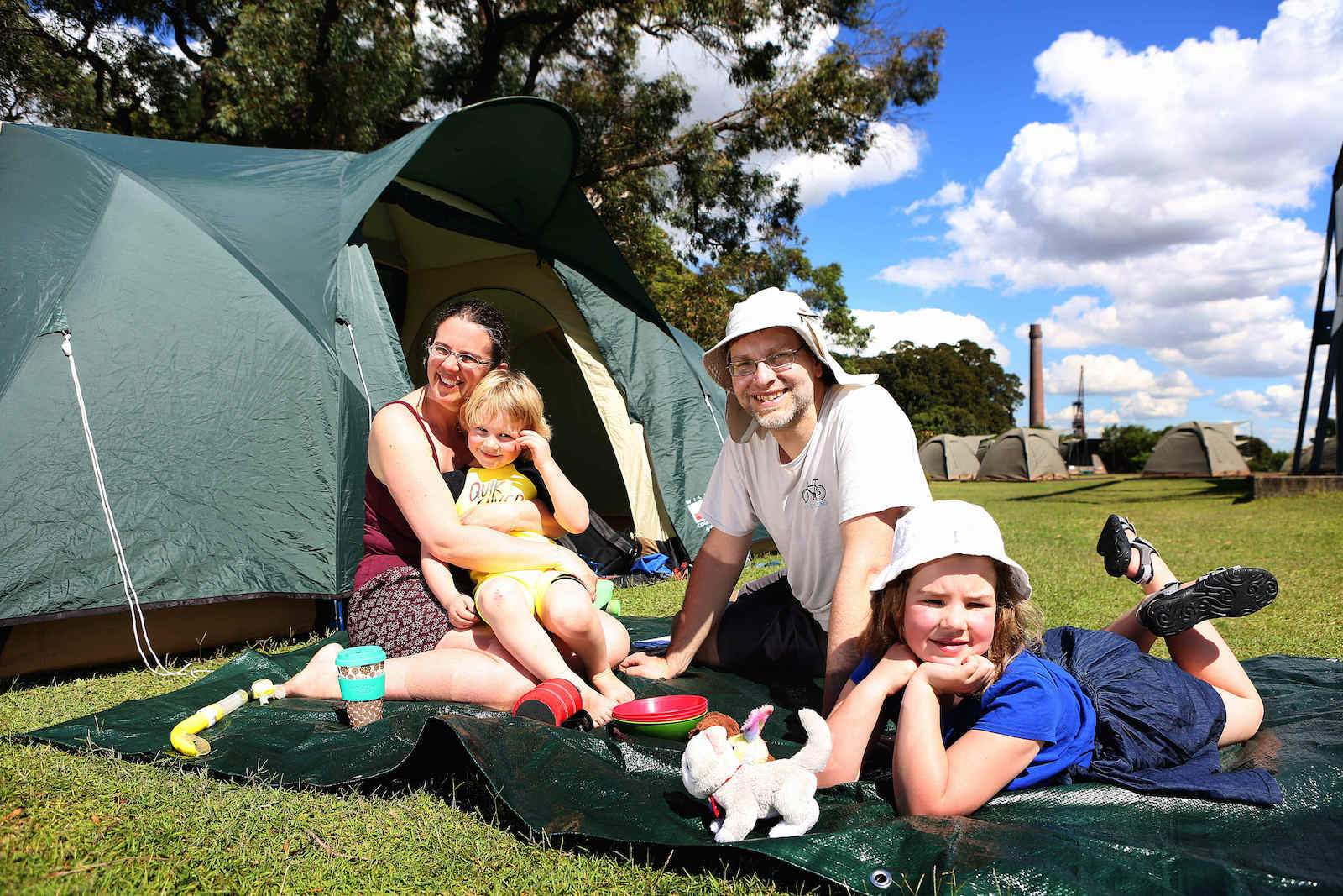07/04/2017: Jeremy and Louise Clines with their children Nathaniel,5 , and Esther, 7 from Sheffield, England, camping at Cockatoo Island in Sydney. Pic by James Croucher