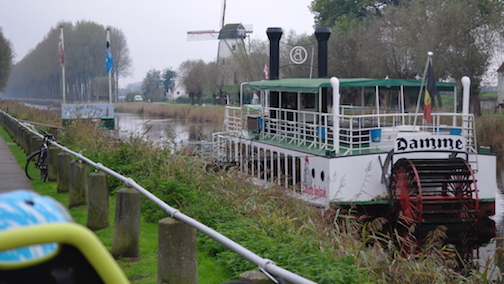 Cycling through Damme, Belgium after getting the Hull ferry with children on bicycles.