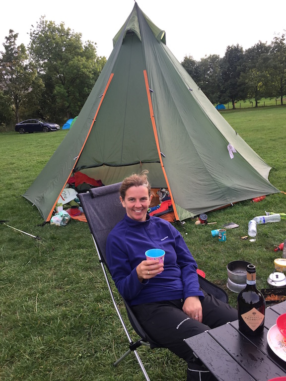 Relaxing after a campsite-cooked meal.