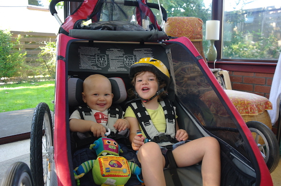 Double the fun in the chariot bike trailer with a baby or toddler on a bicycle.