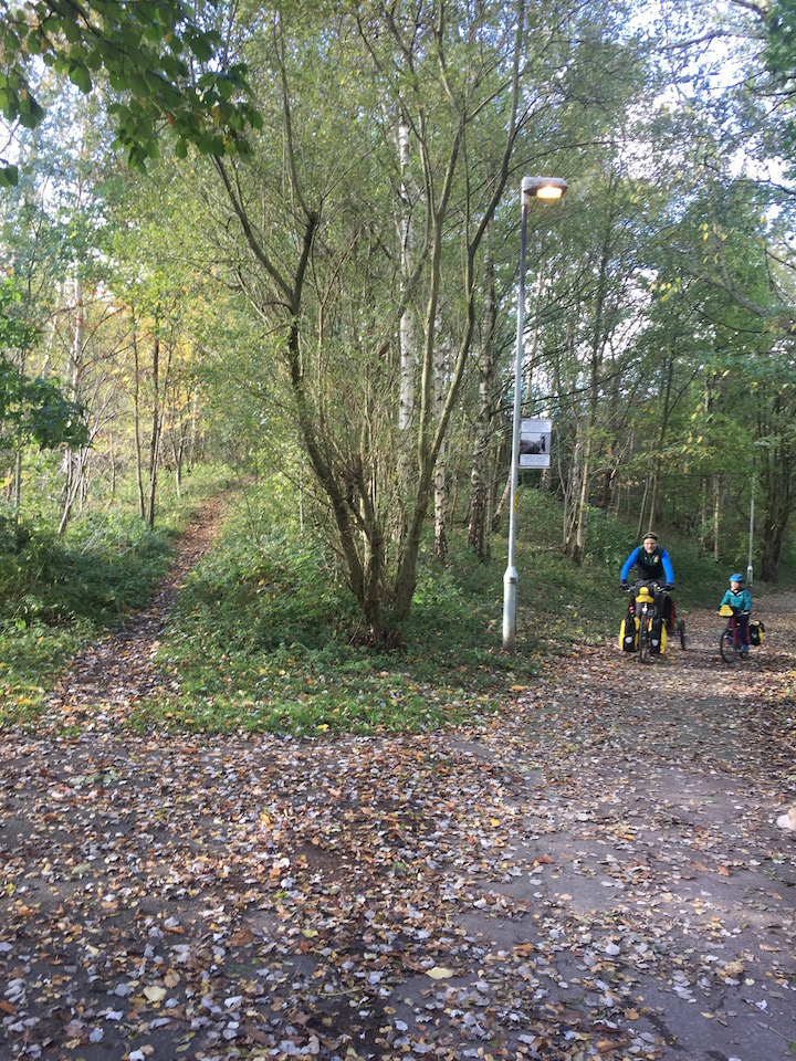Cycling near Sale Water Park on the Trans Penine Trail with our kids.