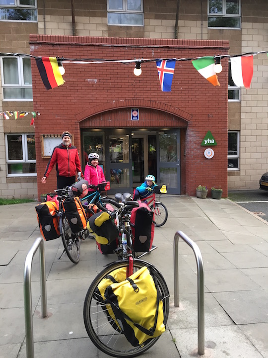 Setting off from YHA Liverpool on the Trans Penine Trail with our kids