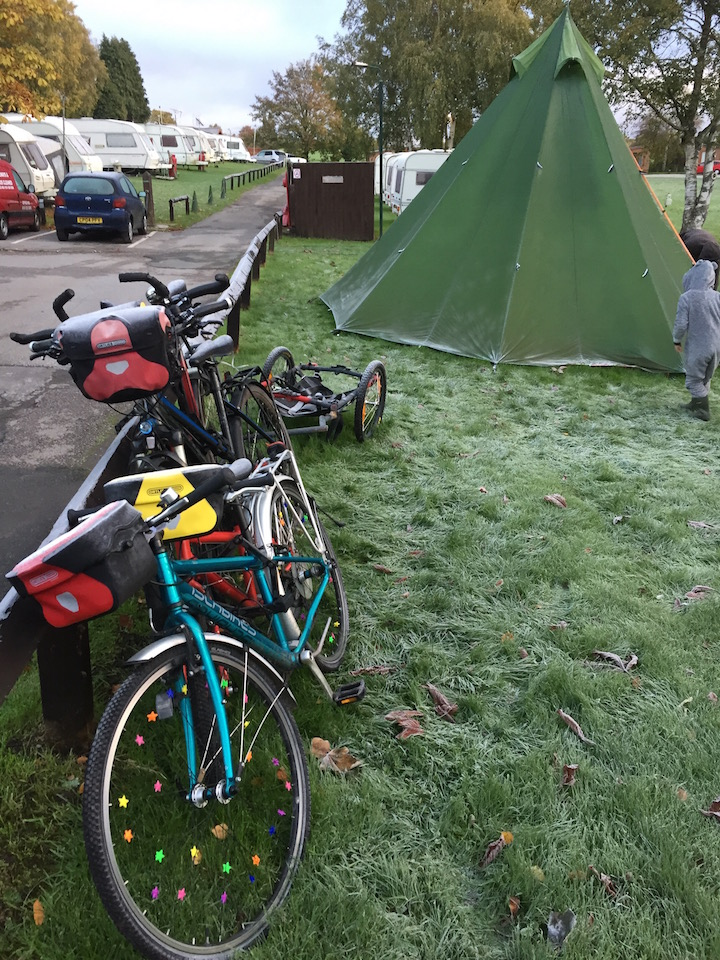 Frost on the tent and the bicycles in the morning.