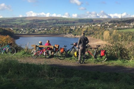 Enjoying the view on the Longdendale Trail on the Trans Pennine Trail with our kids