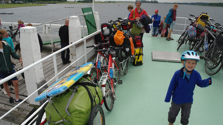 Taking the ferry from Veere to Kamperland on our Netherlands family cycling holiday