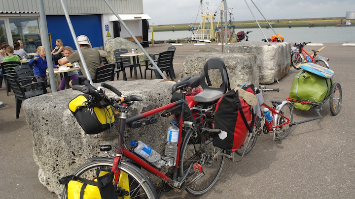 Using a three-part bicycle 'train' on our Netherlands family cycling holiday