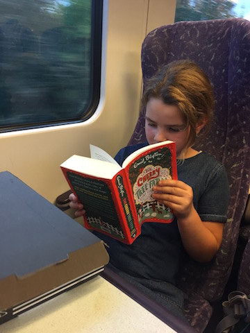 Reading helps family train travel fly by.