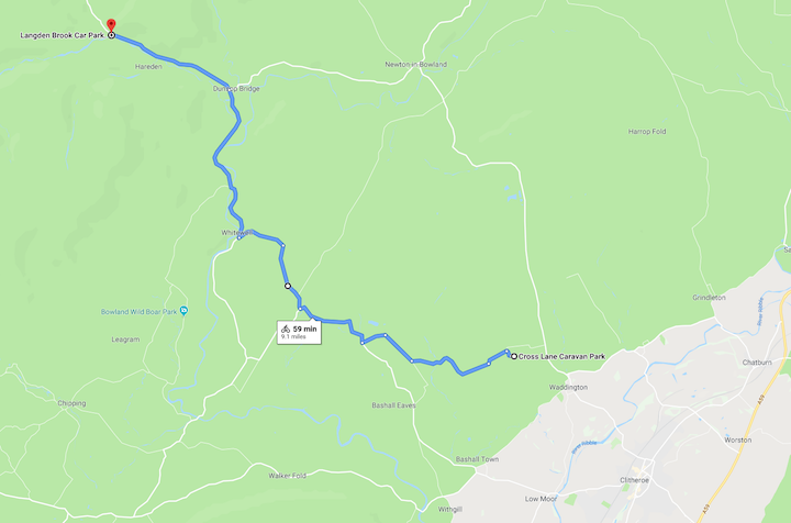 Our outward route for Family cycling in the Forest of Bowland