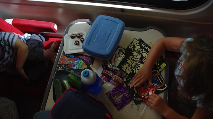 Foil rubbing on the train makes family train travel fun.