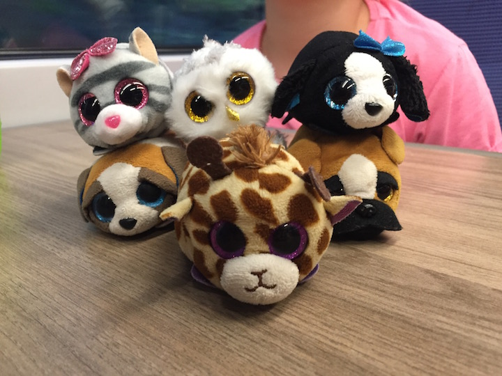 Train games at a table with cuddly toys