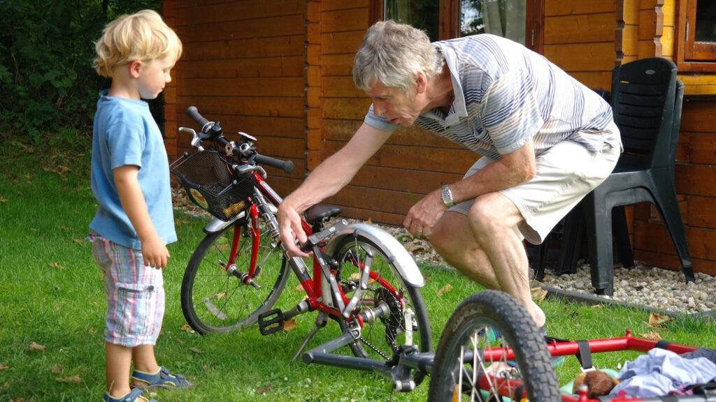 Bicycle help from Grandad
